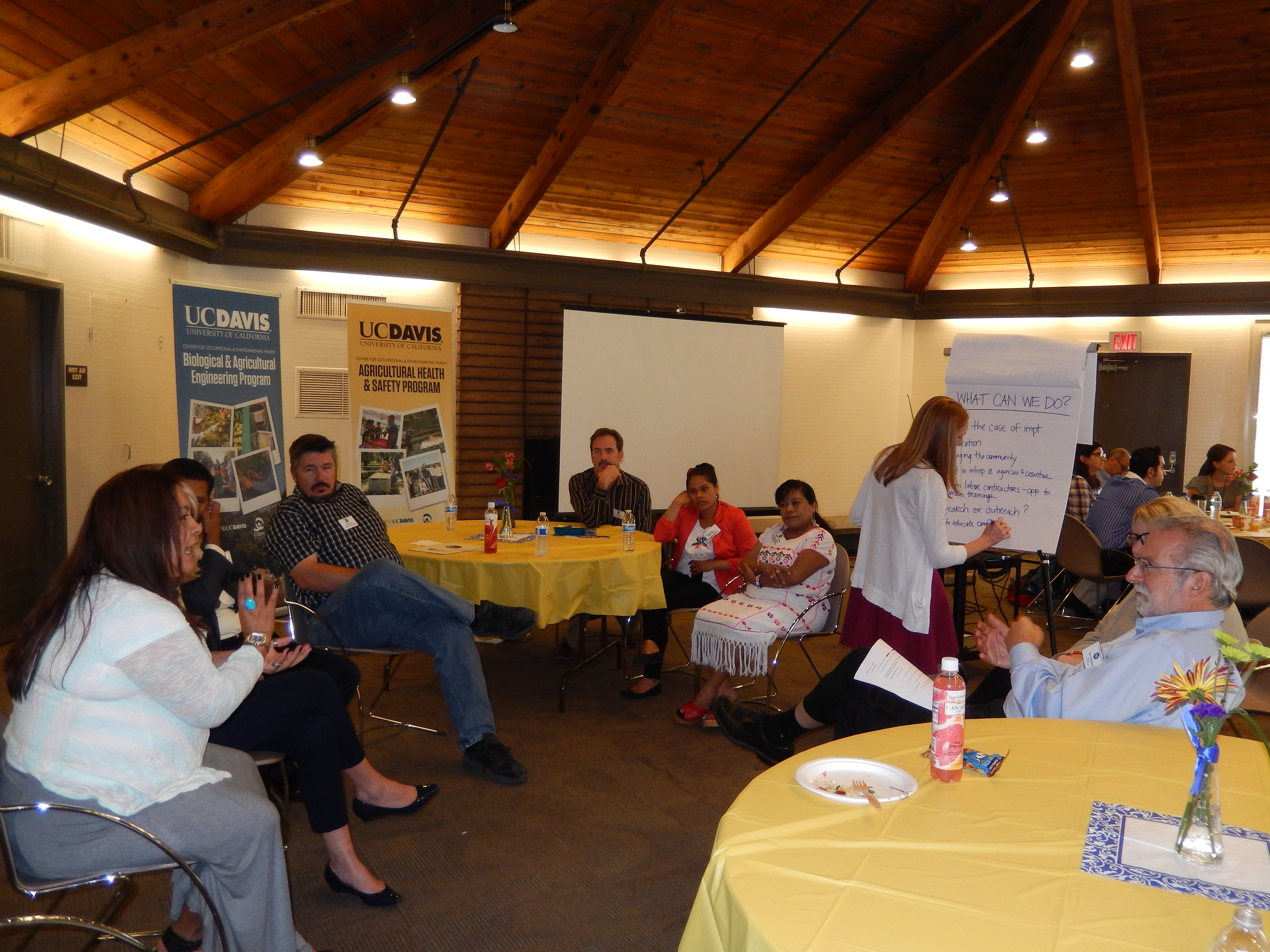 Retreat participants in a breakout group discuss center strategy