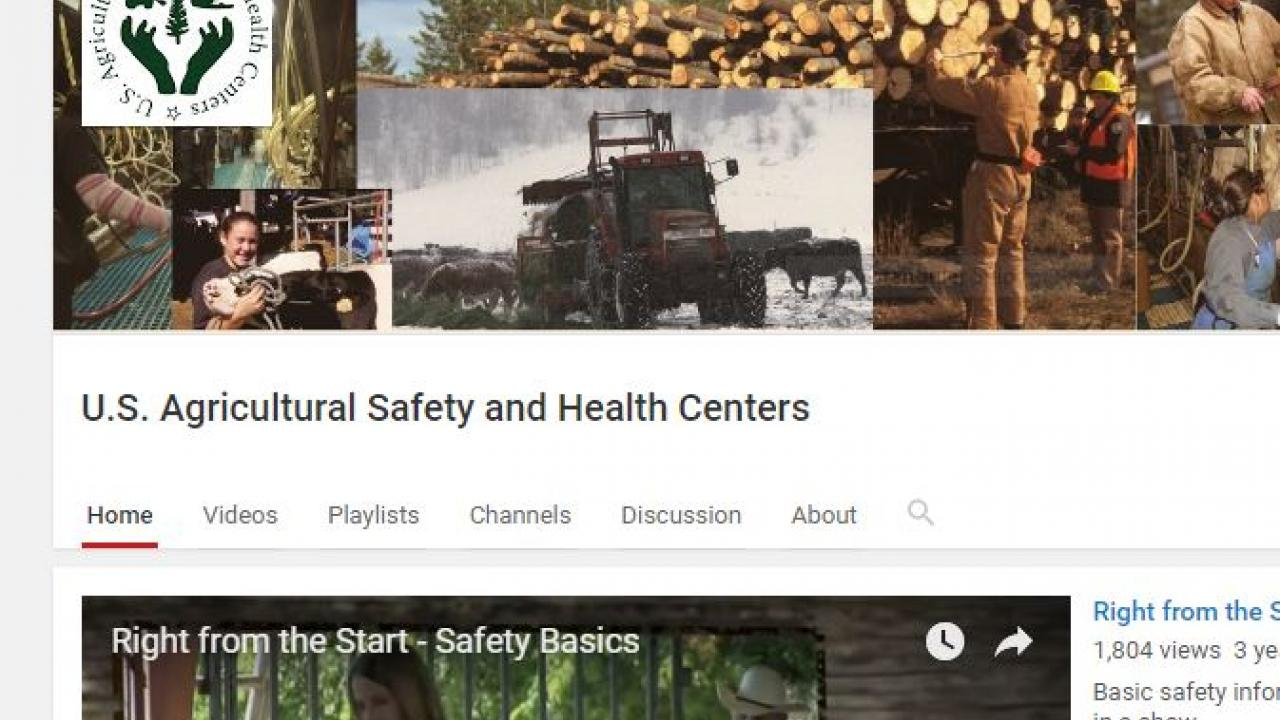 Screen Capture of Ag Centers YouTube home page