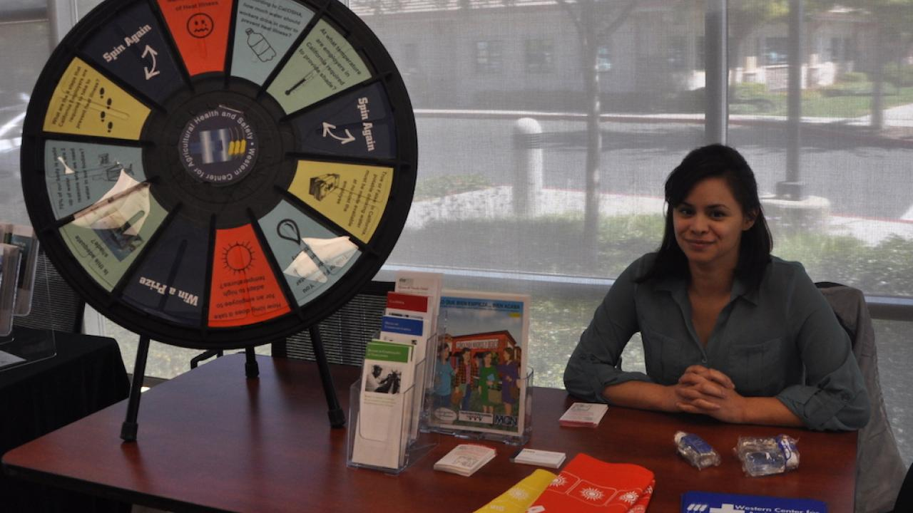 Leslie Olivares with roulette wheel