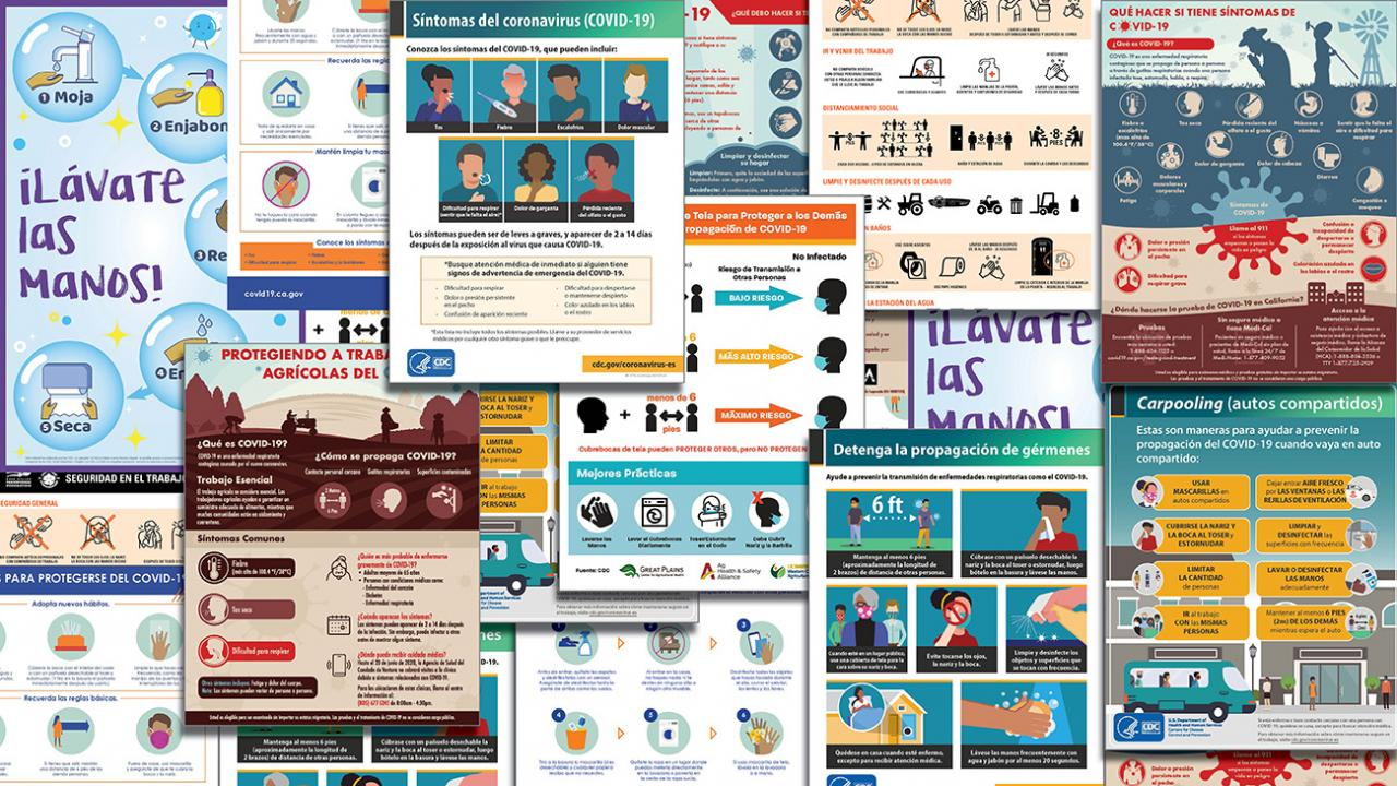 Collage of COVID-19 printed resources in Spanish