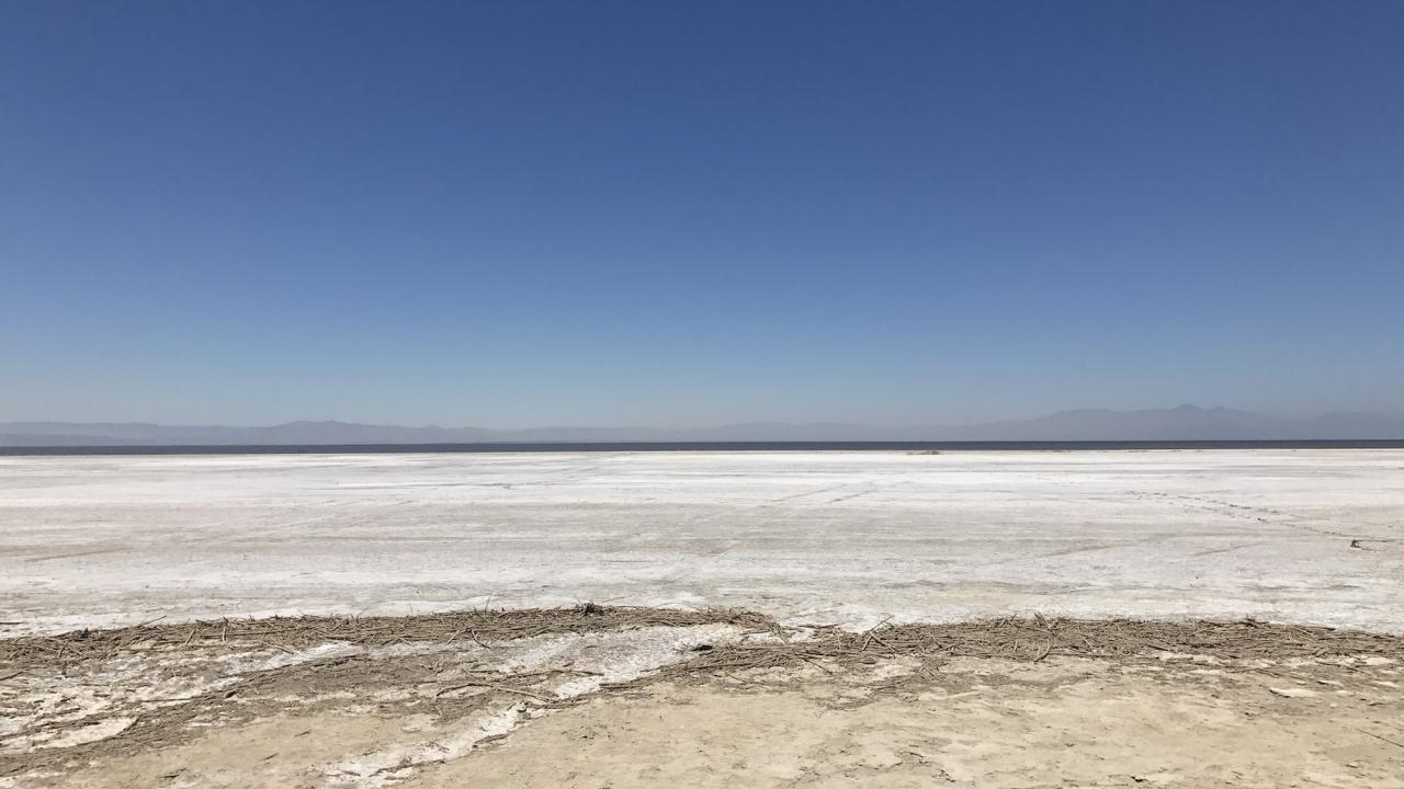 Dried out seabed of Salton Sea in California