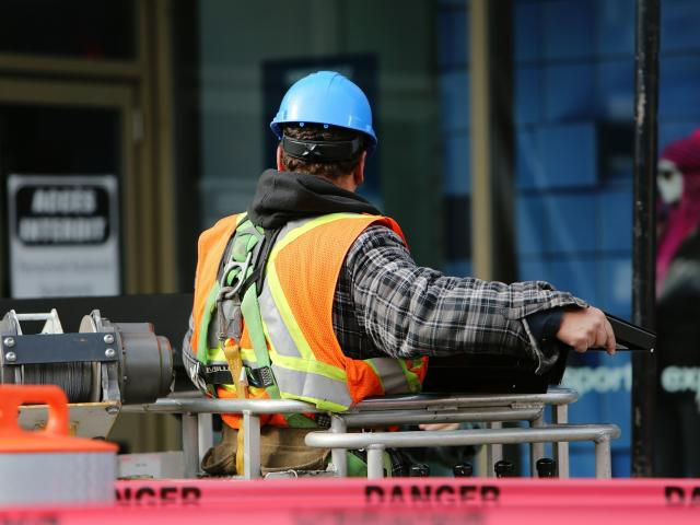 Constructions worker in a safety vest