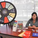 Leslie Olivares with the roulette wheel