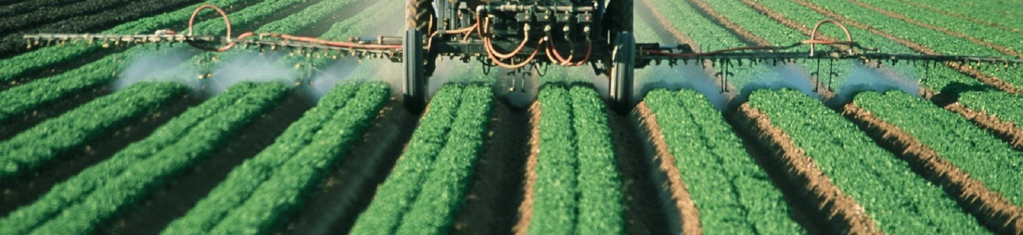 agricultural equipment sprays pesticides in the field